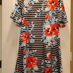 Short sleeve knee length ruffle dress